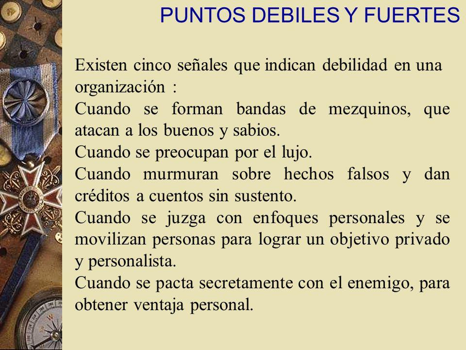 PUNTOS DEBILES Y FUERTES