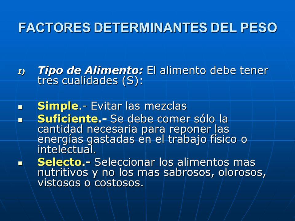FACTORES DETERMINANTES DEL PESO