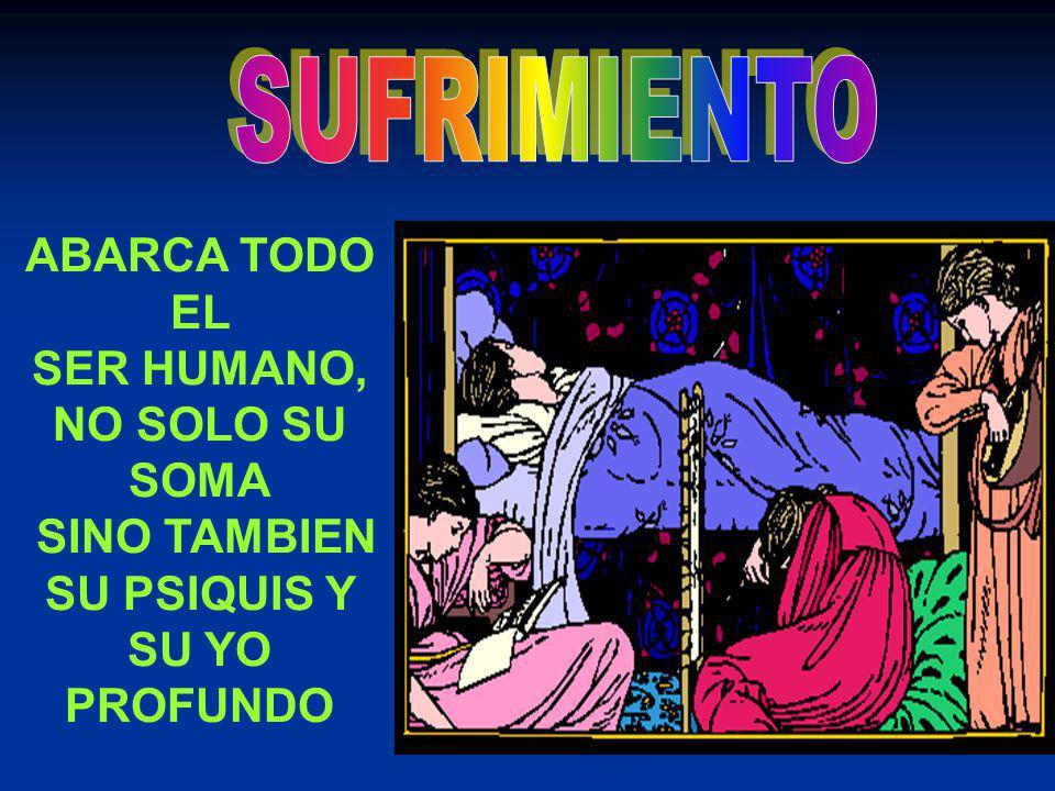 SUFRIMIENTO ABARCA TODO EL SER HUMANO, NO SOLO SU SOMA SINO TAMBIEN