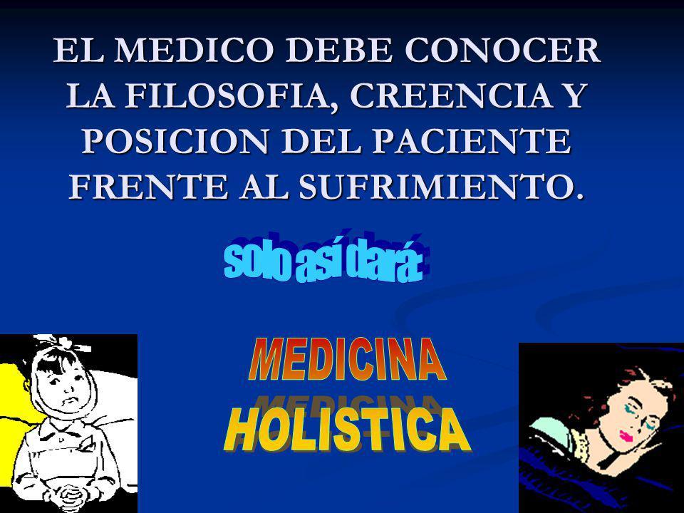 EL MEDICO DEBE CONOCER LA FILOSOFIA, CREENCIA Y POSICION DEL PACIENTE FRENTE AL SUFRIMIENTO.