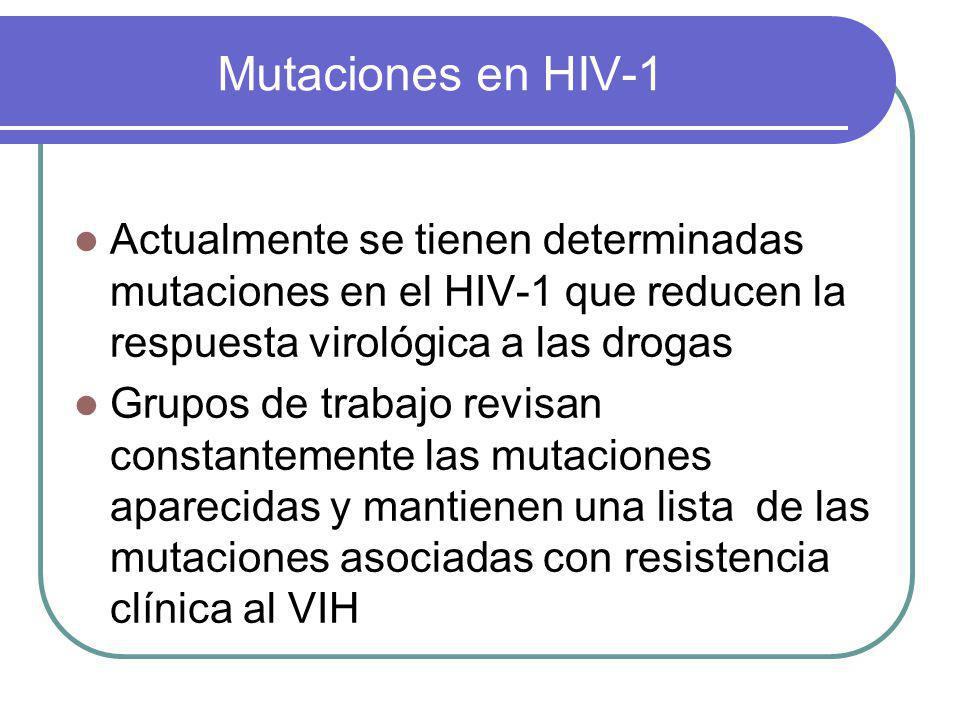 Mutaciones en HIV-1 Actualmente se tienen determinadas mutaciones en el HIV-1 que reducen la respuesta virológica a las drogas.