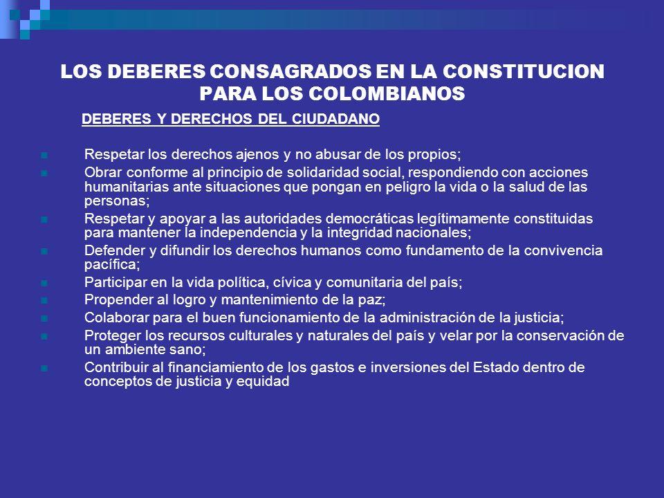 LOS DEBERES CONSAGRADOS EN LA CONSTITUCION PARA LOS COLOMBIANOS