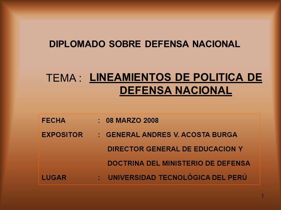 DIPLOMADO SOBRE DEFENSA NACIONAL