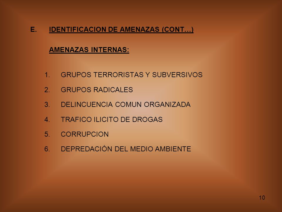 E. IDENTIFICACION DE AMENAZAS (CONT…)