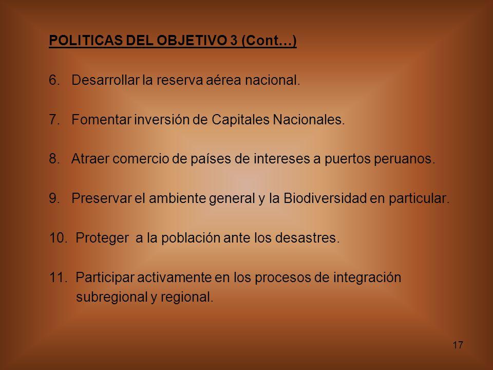POLITICAS DEL OBJETIVO 3 (Cont…)
