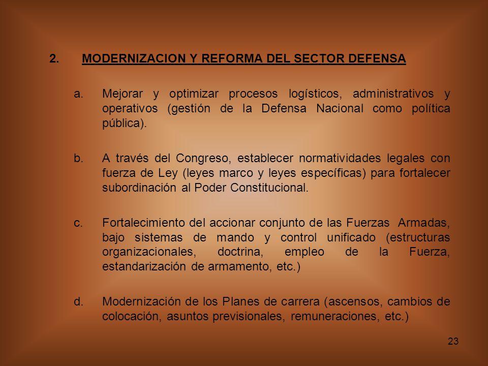 MODERNIZACION Y REFORMA DEL SECTOR DEFENSA
