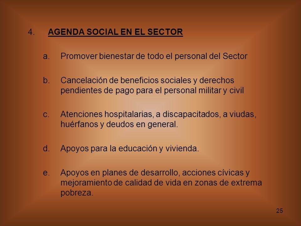 4. AGENDA SOCIAL EN EL SECTOR
