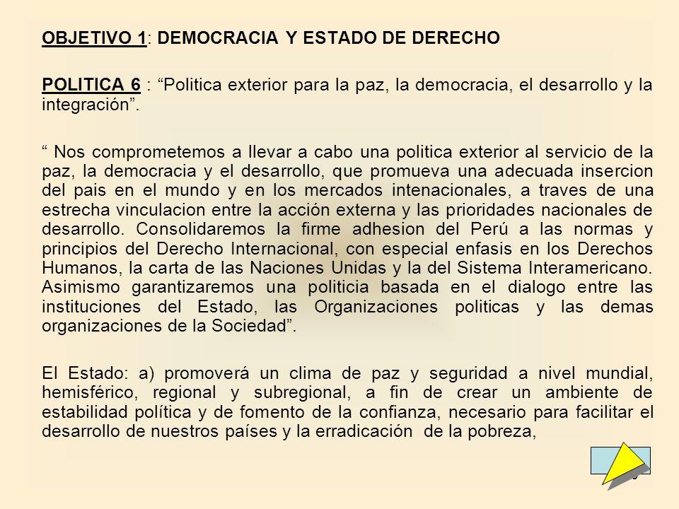 OBJETIVO 1: DEMOCRACIA Y ESTADO DE DERECHO