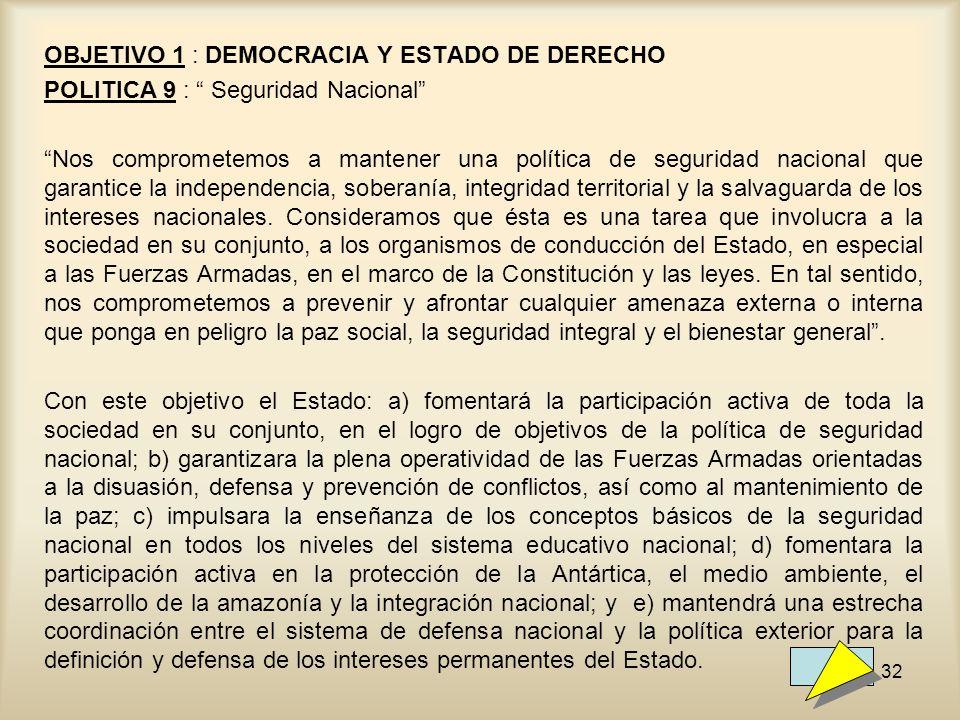 OBJETIVO 1 : DEMOCRACIA Y ESTADO DE DERECHO