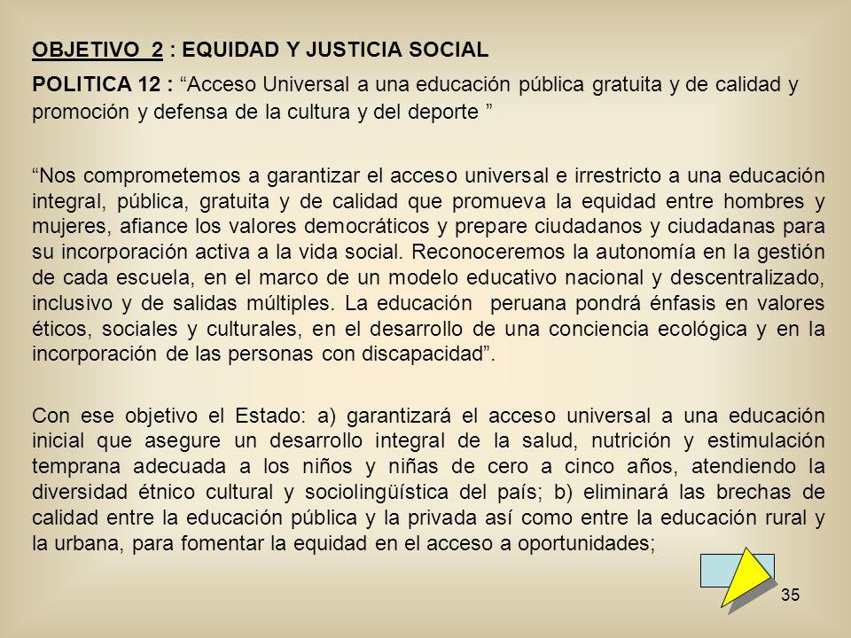 OBJETIVO 2 : EQUIDAD Y JUSTICIA SOCIAL