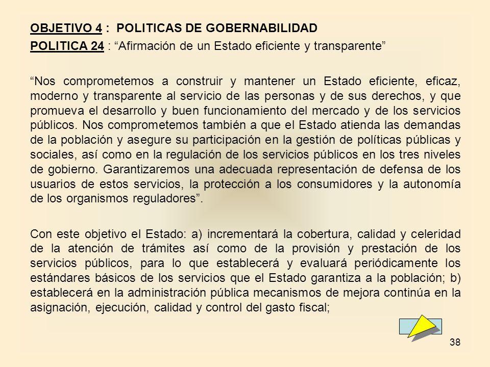 OBJETIVO 4 : POLITICAS DE GOBERNABILIDAD