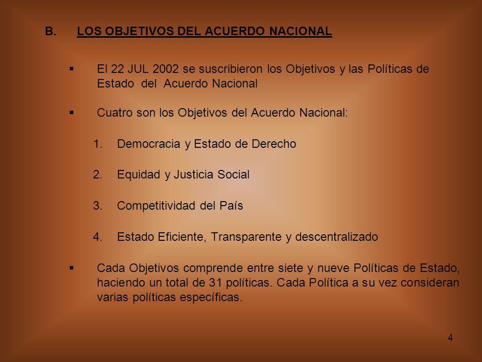 LOS OBJETIVOS DEL ACUERDO NACIONAL