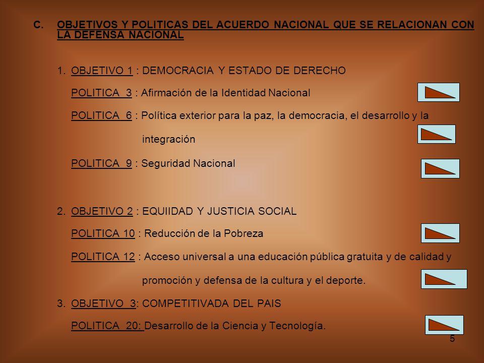 OBJETIVOS Y POLITICAS DEL ACUERDO NACIONAL QUE SE RELACIONAN CON LA DEFENSA NACIONAL