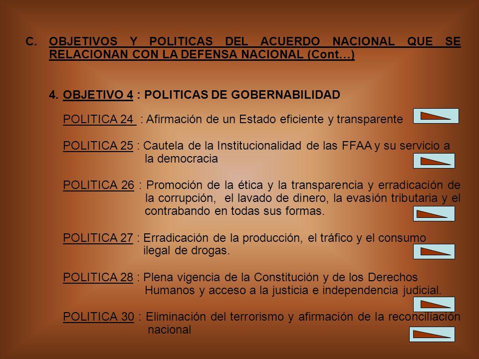 OBJETIVOS Y POLITICAS DEL ACUERDO NACIONAL QUE SE RELACIONAN CON LA DEFENSA NACIONAL (Cont…)