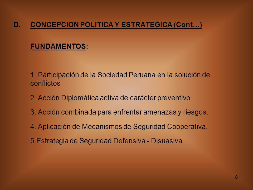 CONCEPCION POLITICA Y ESTRATEGICA (Cont…)