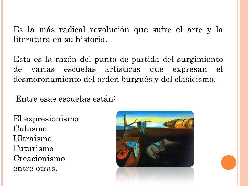 Es la más radical revolución que sufre el arte y la literatura en su historia.