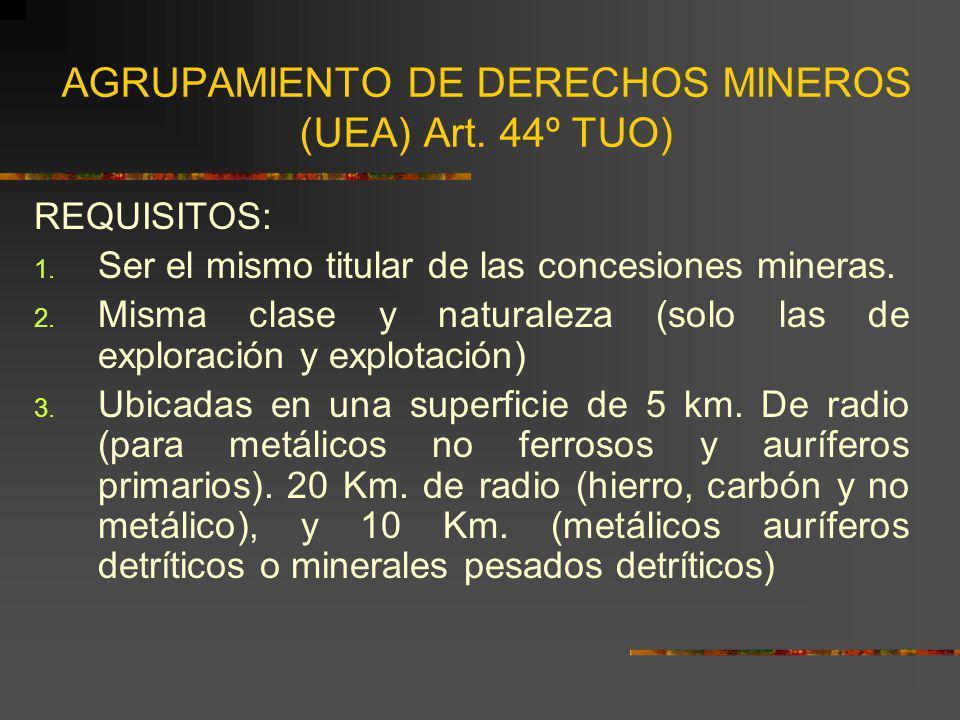 AGRUPAMIENTO DE DERECHOS MINEROS (UEA) Art. 44º TUO)