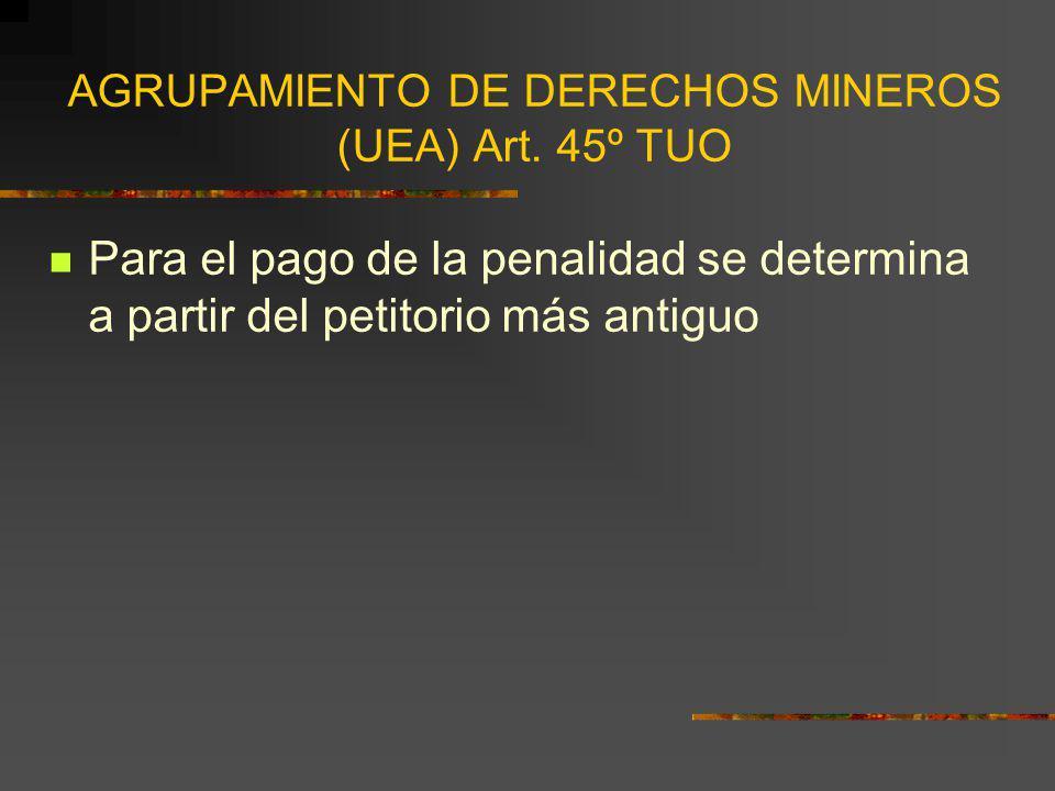 AGRUPAMIENTO DE DERECHOS MINEROS (UEA) Art. 45º TUO