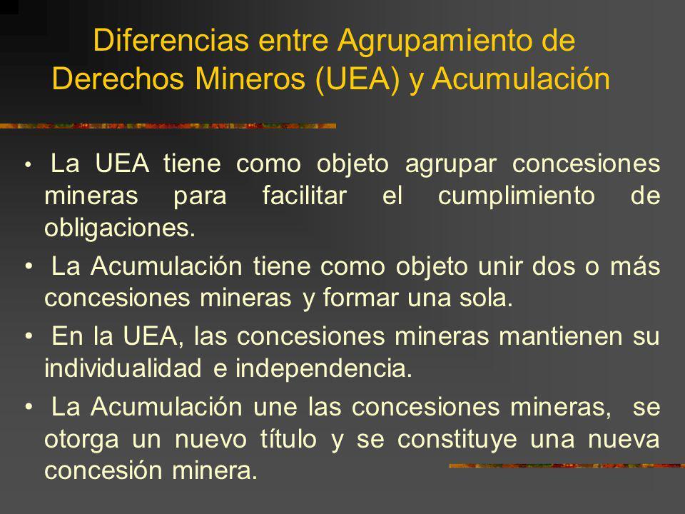 Derechos Mineros (UEA) y Acumulación