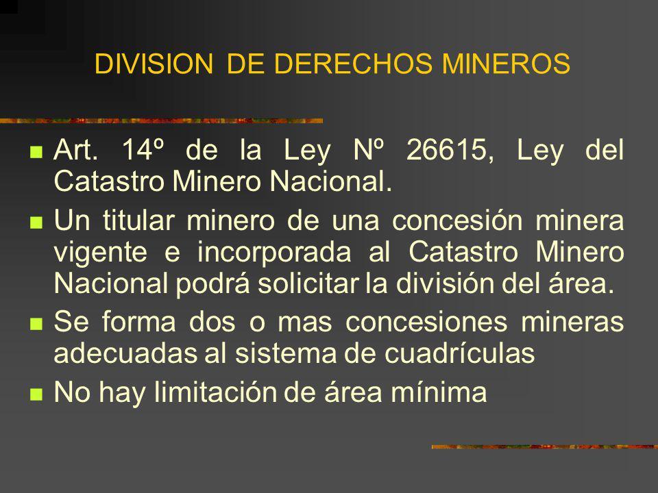 DIVISION DE DERECHOS MINEROS