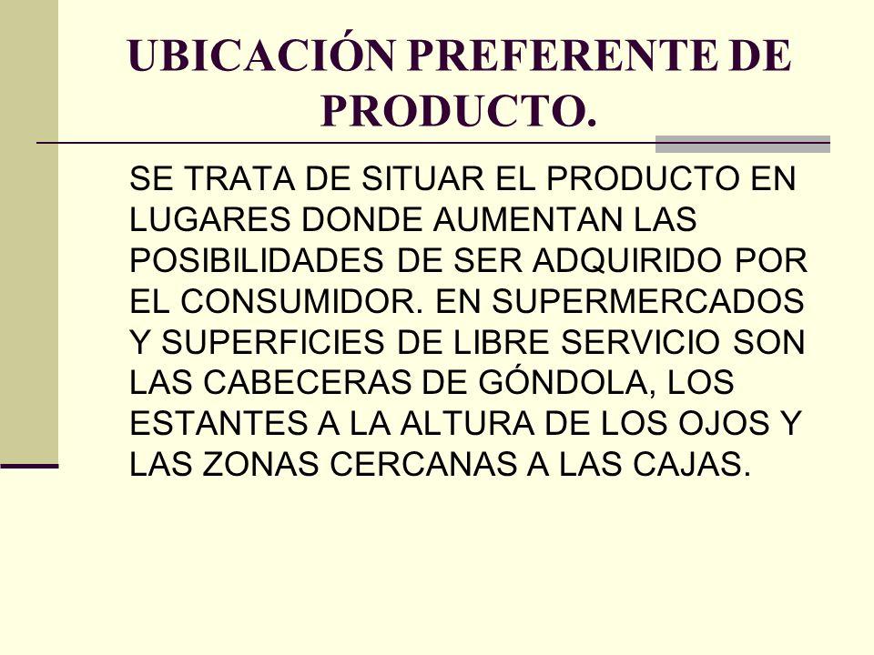 UBICACIÓN PREFERENTE DE PRODUCTO.