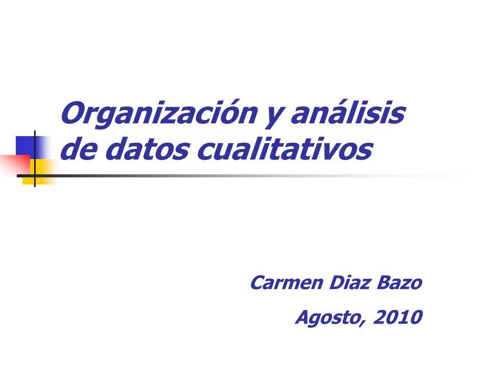Organización y análisis de datos cualitativos