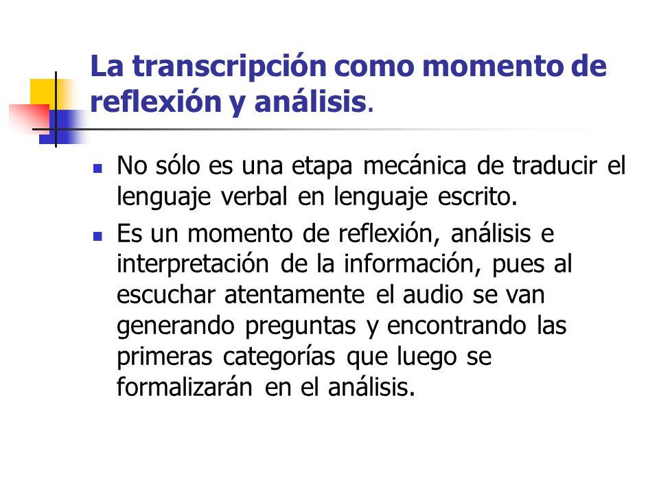 La transcripción como momento de reflexión y análisis.