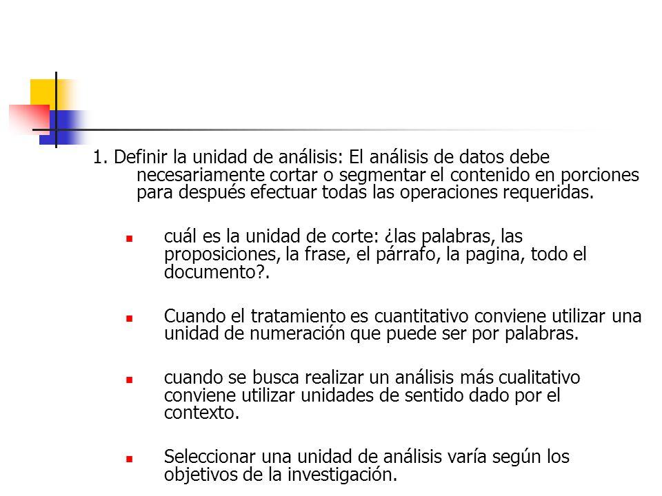 1. Definir la unidad de análisis: El análisis de datos debe necesariamente cortar o segmentar el contenido en porciones para después efectuar todas las operaciones requeridas.