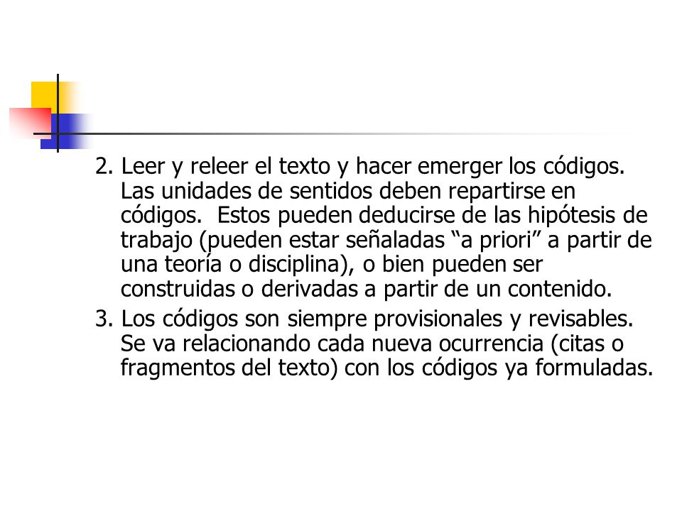 2. Leer y releer el texto y hacer emerger los códigos