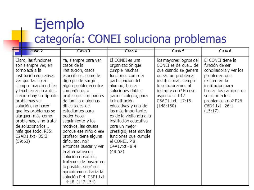 Ejemplo categoría: CONEI soluciona problemas