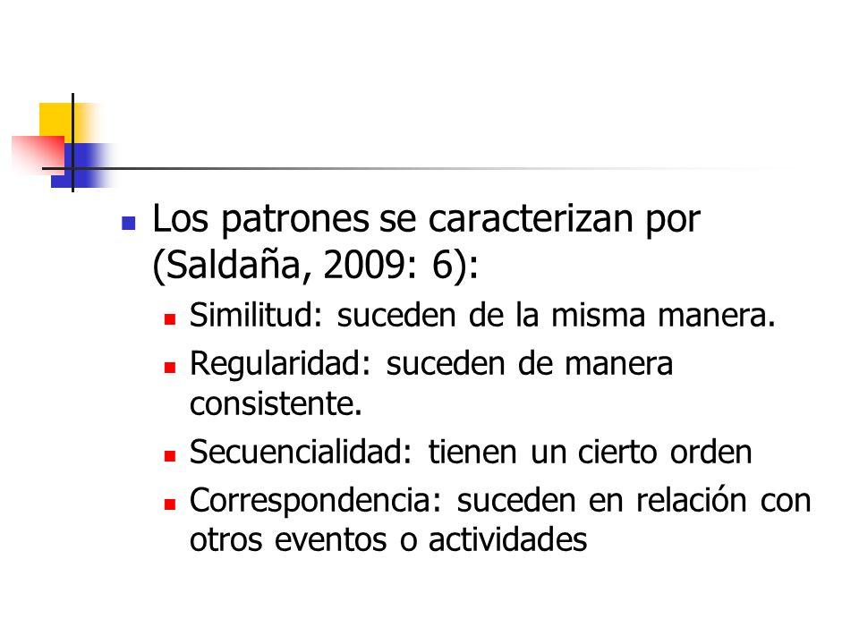Los patrones se caracterizan por (Saldaña, 2009: 6):