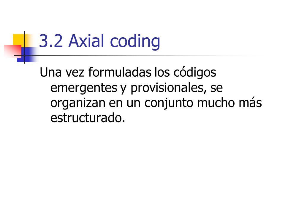 3.2 Axial coding Una vez formuladas los códigos emergentes y provisionales, se organizan en un conjunto mucho más estructurado.