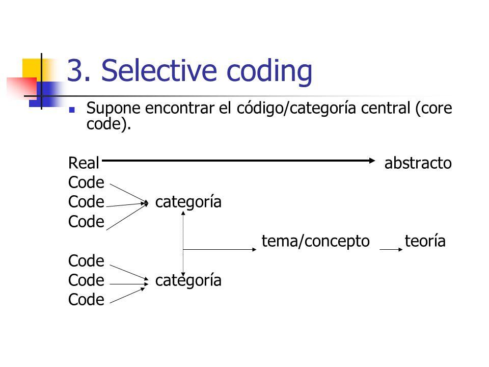 3. Selective coding Supone encontrar el código/categoría central (core code). Real abstracto.