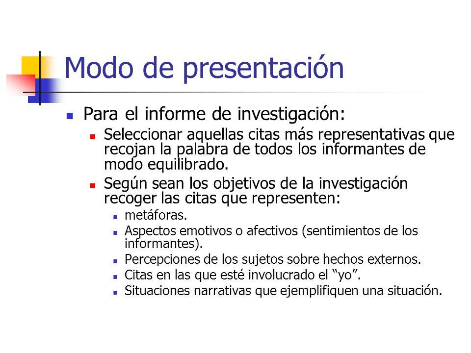 Modo de presentación Para el informe de investigación: