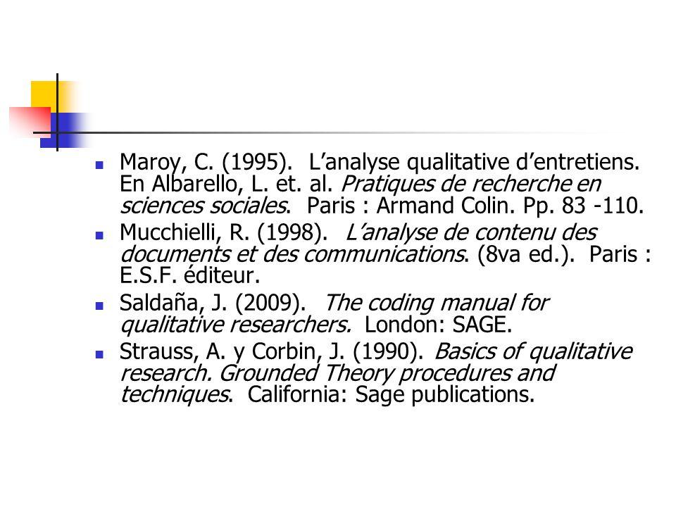 Maroy, C. (1995). L'analyse qualitative d'entretiens. En Albarello, L
