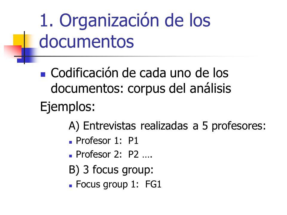 1. Organización de los documentos