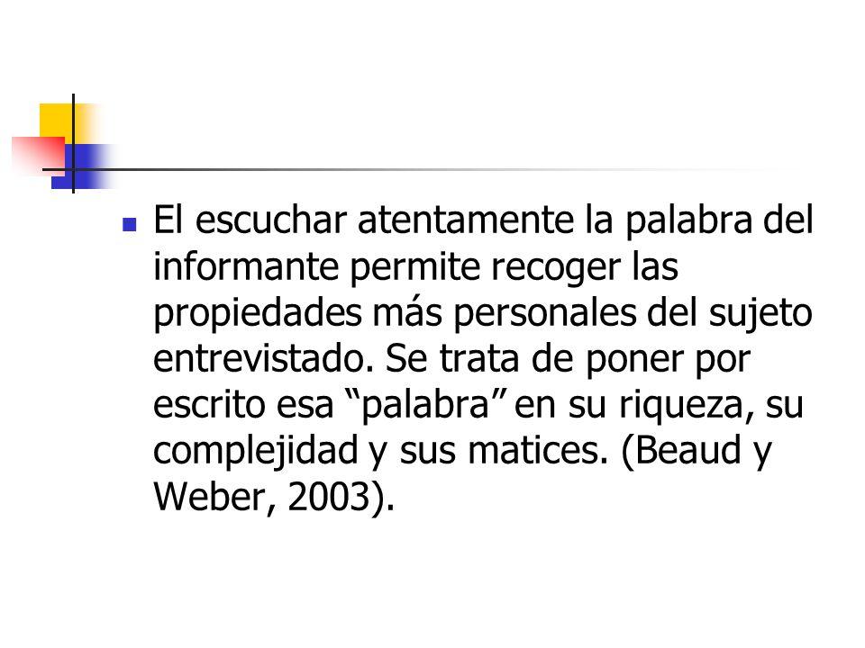 El escuchar atentamente la palabra del informante permite recoger las propiedades más personales del sujeto entrevistado.