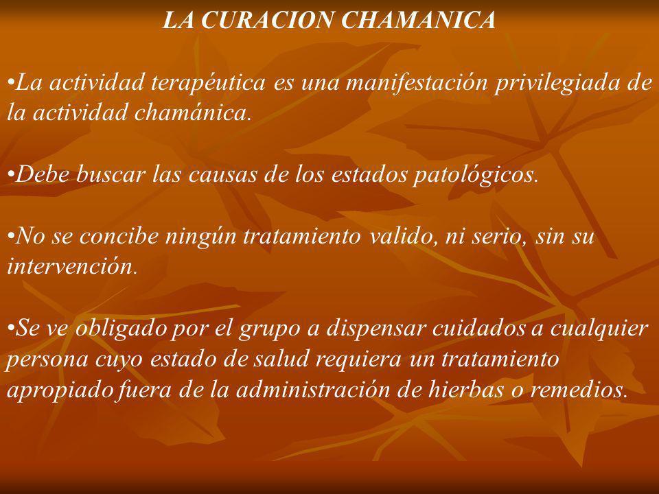 LA CURACION CHAMANICA La actividad terapéutica es una manifestación privilegiada de la actividad chamánica.