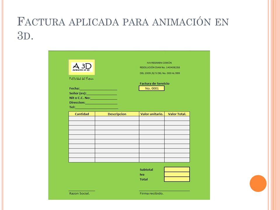 Factura aplicada para animación en 3d.