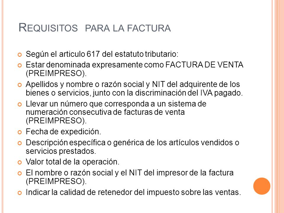Requisitos para la factura