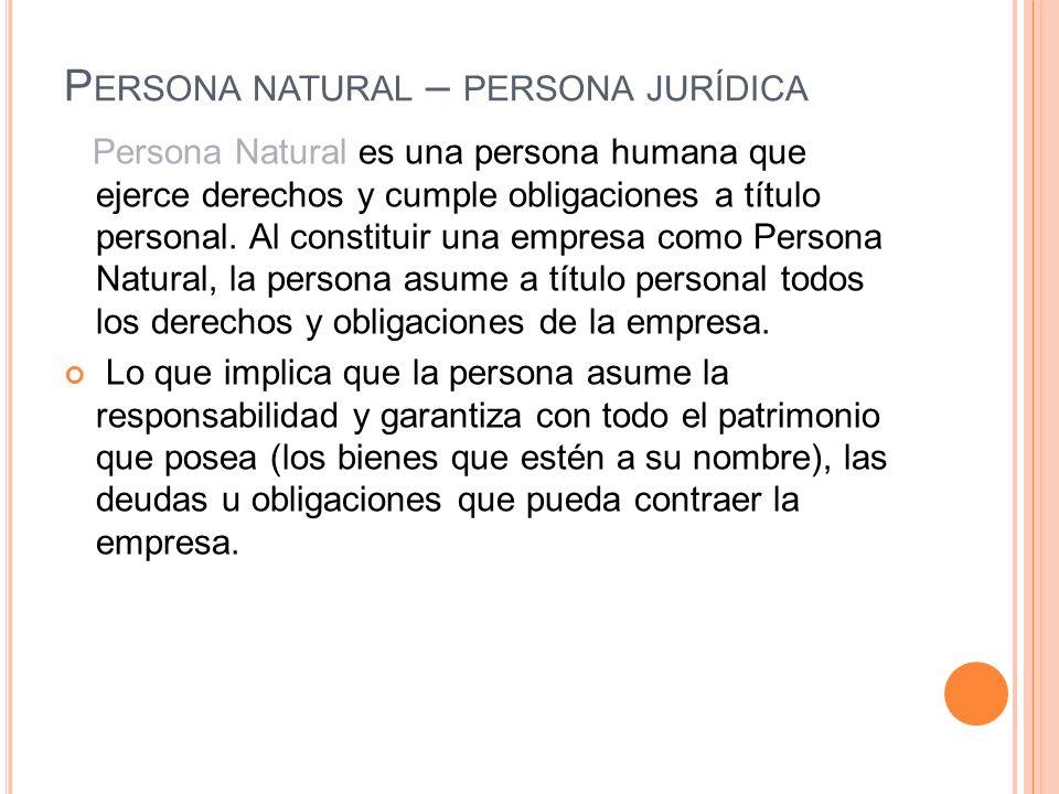 Persona natural – persona jurídica