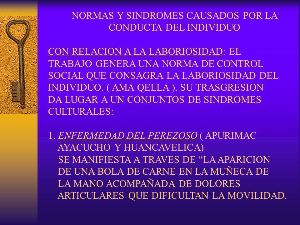 NORMAS Y SINDROMES CAUSADOS POR LA CONDUCTA DEL INDIVIDUO