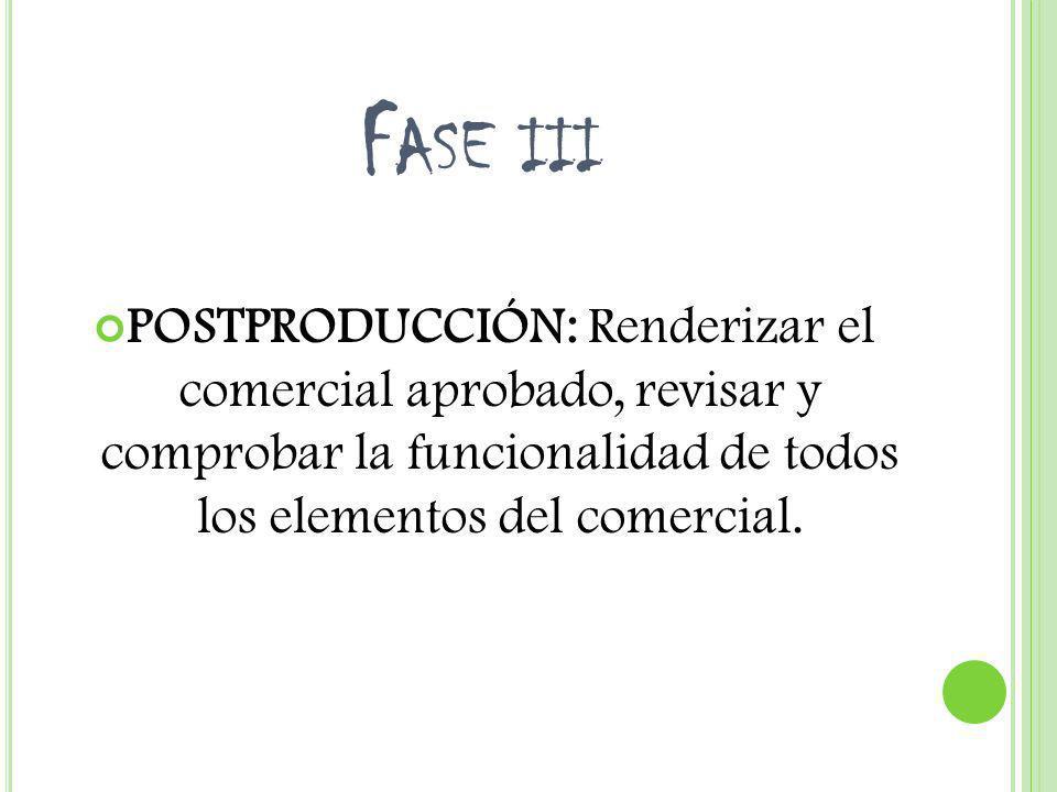 Fase iii POSTPRODUCCIÓN: Renderizar el comercial aprobado, revisar y comprobar la funcionalidad de todos los elementos del comercial.