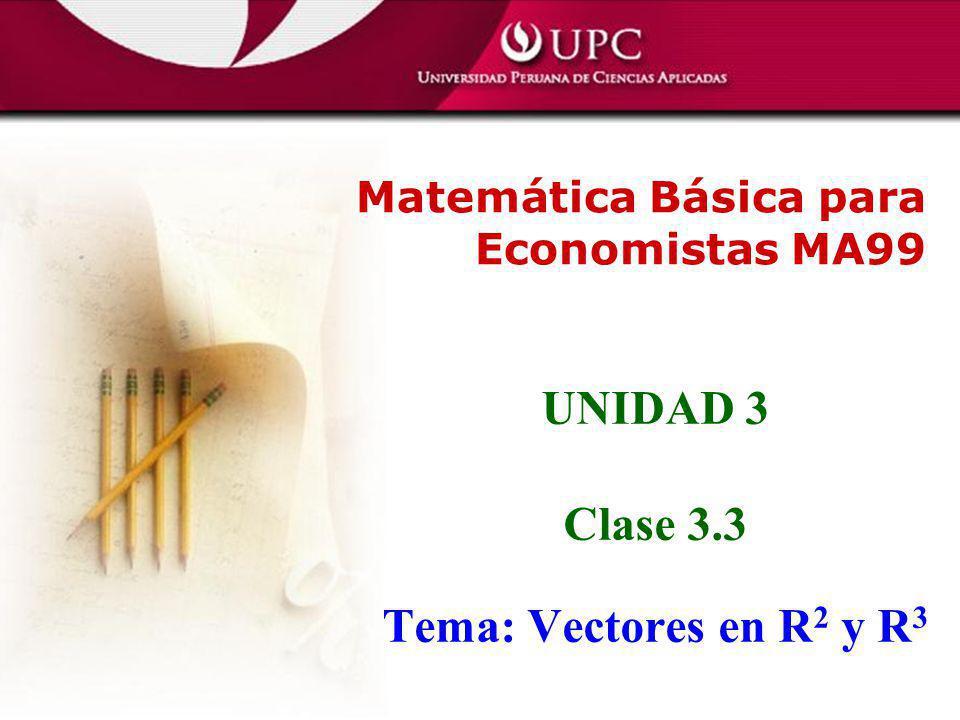 UNIDAD 3 Clase 3.3 Tema: Vectores en R2 y R3