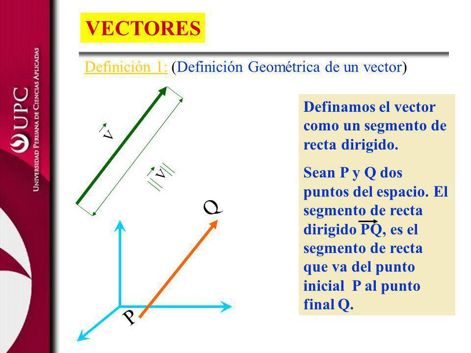 VECTORES Q P Definición 1: (Definición Geométrica de un vector)