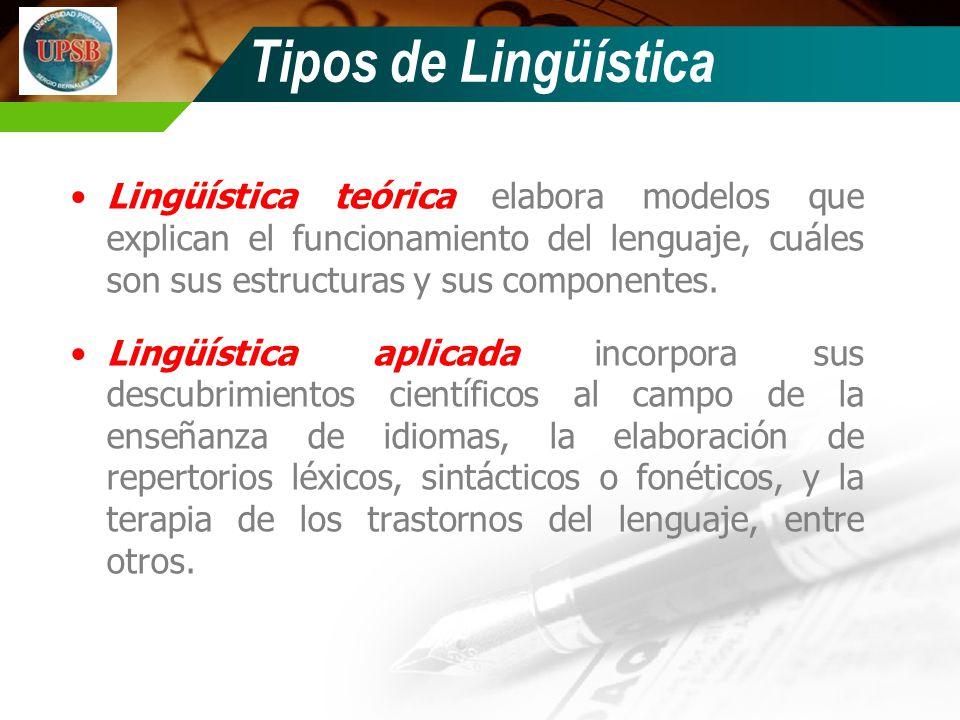 Tipos de Lingüística Lingüística teórica elabora modelos que explican el funcionamiento del lenguaje, cuáles son sus estructuras y sus componentes.