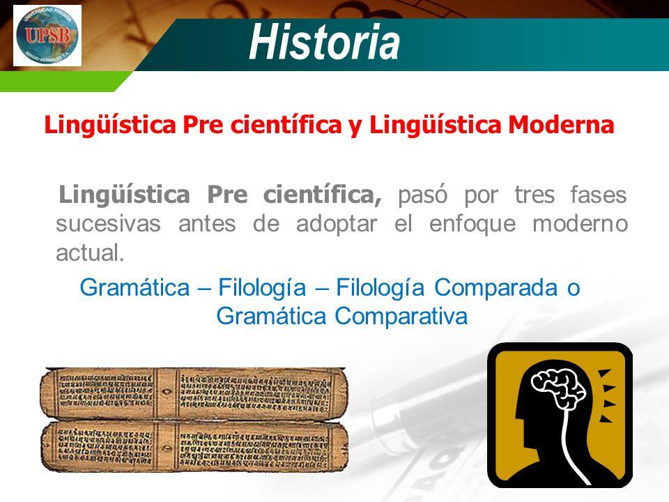 Lingüística Pre científica y Lingüística Moderna