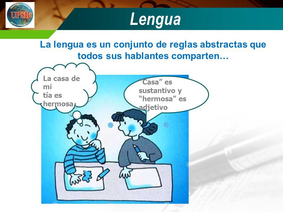 Lengua La lengua es un conjunto de reglas abstractas que todos sus hablantes comparten… La casa de mi.
