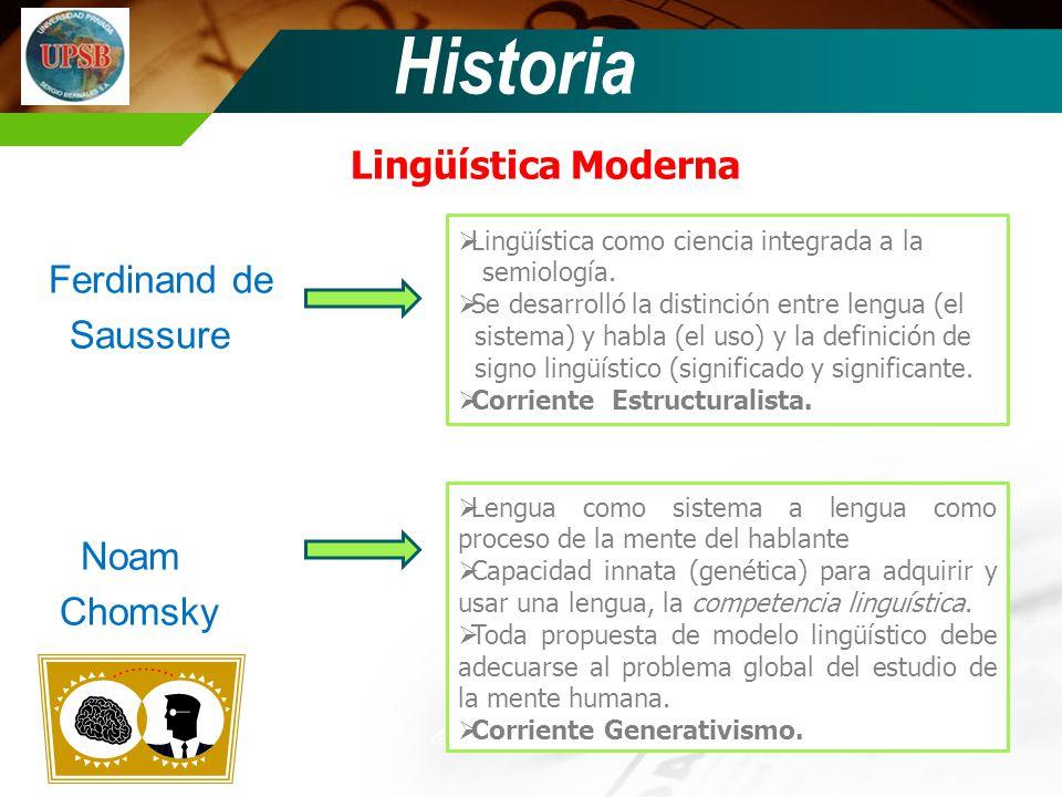 Historia Lingüística Moderna Ferdinand de Saussure Noam Chomsky
