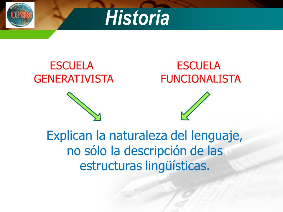 Historia ESCUELA. GENERATIVISTA. ESCUELA. FUNCIONALISTA.